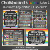 Classroom Organization Bundle (Chalkboard and Rainbow Stripe 2)