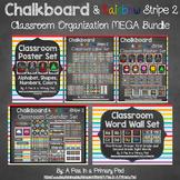 Classroom Organization & Decor Theme Bundle - Chalkboard and Rainbow Stripe 2