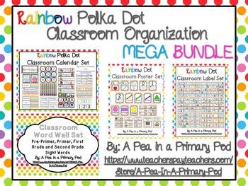 Classroom Organization Bundle (Rainbow Dot)