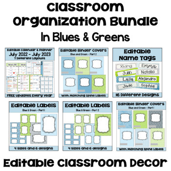 Classroom Organization BUNDLE in Blue and Green with Owls