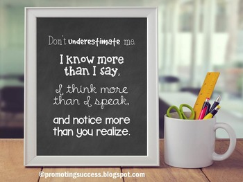 Special Education Poster, Don't Underestimate Me, Preschool Kindergarten Decor