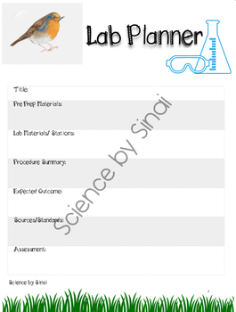 Classroom Organization Editable Lesson Planner Pages with Science Lab Prep