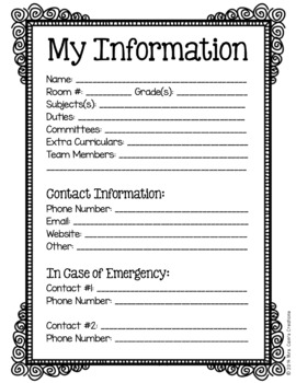 Classroom Organization Forms Pack