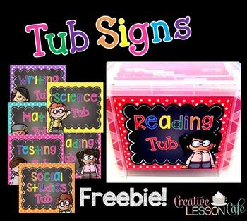Classroom Organization - Hanging File Tub Signs {Freebie}