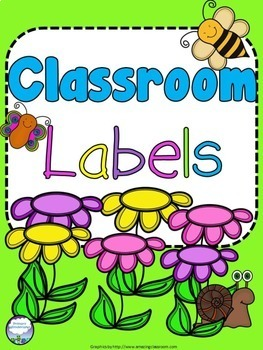 Classroom Labels Flowers and Insects Theme
