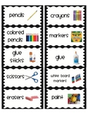 Classroom Organization Labels: Black and White frame exten