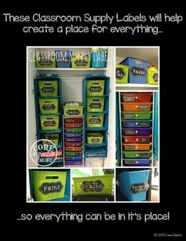 Classroom Organization Labels - Chalkboard Theme