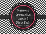 Classroom Organization Labels & Decor Pack-Black and White Chevron with Pink