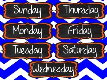 Classroom Organization Labels & Decor Pack-Blue and Orange (Go Gators!)