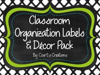 Classroom Organization Labels & Decor Pack- Green/Aqua Accent