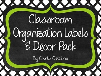 Classroom Organization Labels & Decor Pack- Green/Black