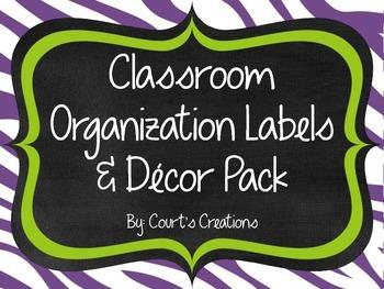 Classroom Organization Labels & Decor Pack-Zebra Print