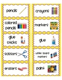 Classroom Organization Labels: Easy print sticker labels in yellow and purple