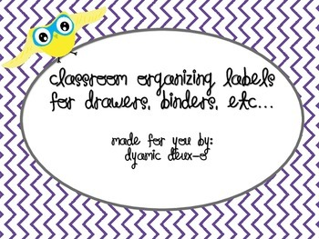Classroom Organization Labels for drawers and binders