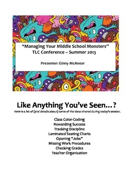 """Managing Your Middle School Monsters"" Classroom Organizat"