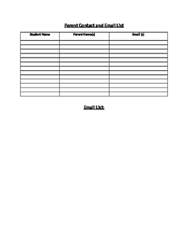 Classroom Organization - Parent Contact and Email List