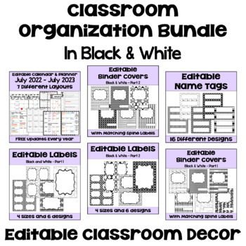 Classroom Organization BUNDLE in Black and White