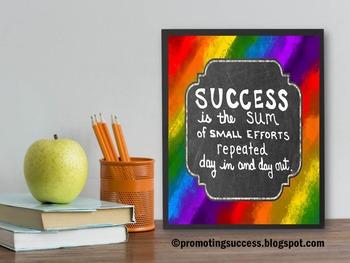 Quote about Success ~ Rainbow Theme ~ Printable Poster Teacher Classroom Decor