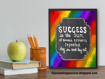 Inspirational Poster, Definition of Success Quote, Rainbow Classroom Theme