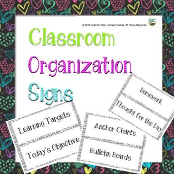 Classroom Organization Signs