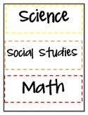 Classroom Organization: Subject Binder Covers and labels