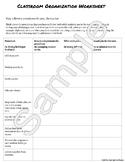 Classroom Organization Worksheet