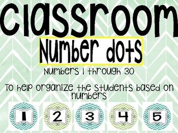 Classroom Organizer Numbered Dots