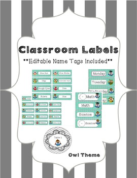 Classroom Organization Labels (Owl Theme) Editable Name Ta