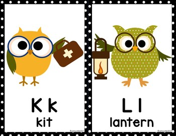 Alphabet Posters:  Owl Half-Page