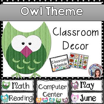 Classroom Owl Theme Editable Labels