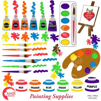 Classroom Painting Clipart and Papers Bundle {Best Teacher Tools} AMB-1664