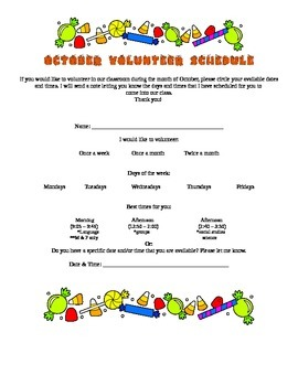 Classroom Parent Volunteer Scheduling Flyer