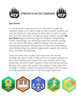 Classroom Parent Welcome Letter Genius Hour