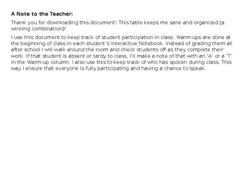 Classroom Participation Tracker