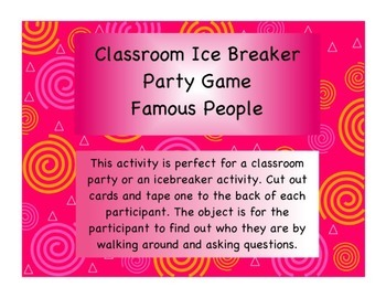 Classroom Ice Breaker Activity: Famous People