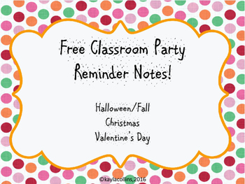 Classroom Party Reminder Notes