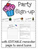 Classroom Party Sign Up *Editable*