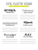 Classroom Party Sign-Up Sheet for Parents