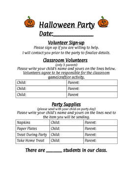 classroom party sign ups teaching resources teachers pay teachers