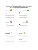 Classroom Party Sign up Sheet