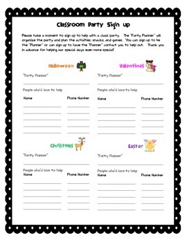 Classroom Party Signup
