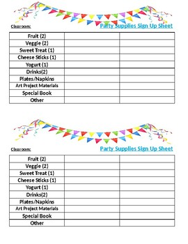 Classroom Party Supply Sign Up Sheet