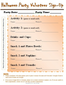 Classroom Party Volunteer Sign Up Sheet