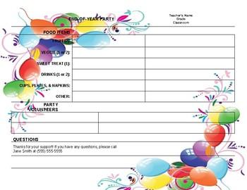 Classroom Party sheet