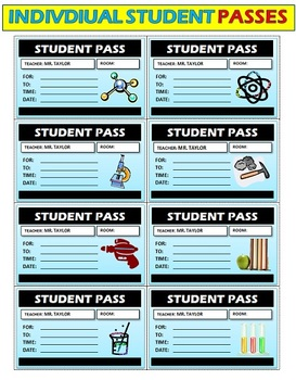 Classroom Passes: 20 Pages of various styles