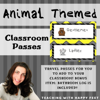 Classroom Passes: Animal Themed