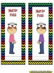 Classroom Passes ~ Chevron Rainbow Print with black background