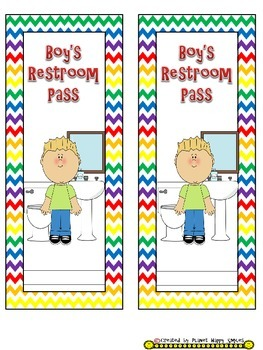 Classroom Passes ~ Chevron Rainbow Print with white background