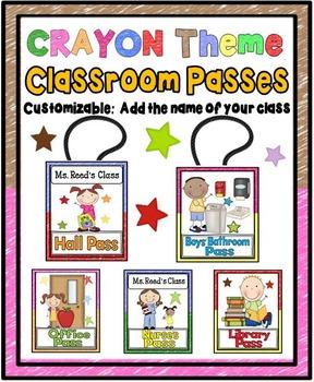 Classroom Passes {Crayon Theme-Editable}