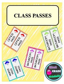 Classroom Passes (EDITABLE)